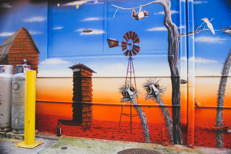 Australian Outback Building Exterior Day Emu Gas Cylinder No People Ostrich Outback Outdoors Spray Paint Street Art Street Art/Graffiti Urban Wall Wall Art The Secret Spaces Art Is Everywhere