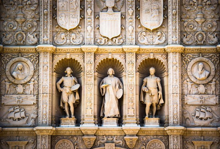 Balboa park San Diego Architecture Travel Destinations History Statue Marble Built Structure Bas Relief Symmetry Sculpture Gold Colored Gold Building Exterior No People Day Outdoors City King - Royal Person Close-up First Eyeem Photo