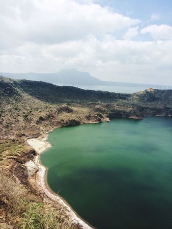 crater lake Philippines Crater Lake Taal Volcano Water Sea Beach Sky Cloud - Sky Landscape