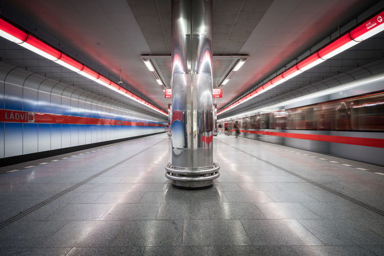 Metro Lines Capital Cities  City Czech Republic Europe Full Frame Lines Long Exposure Ládví Metro Metro Station Modern Movement Perspective Platform Prague Prague Metro Public Transportation Subway Subway Station Train Transport Transportation Underground Urban Wide Angle