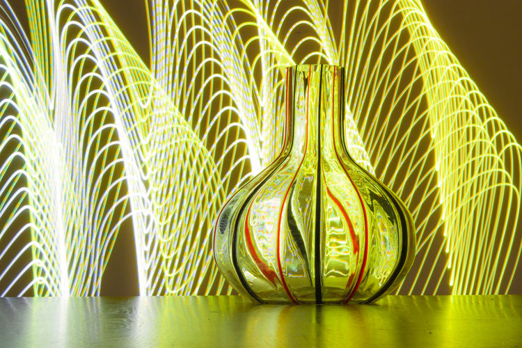 Paint The Town Yellow Painting With Light Reflection Vase Close-up Glass Happy Lights Indoors  No People Yelllow Light