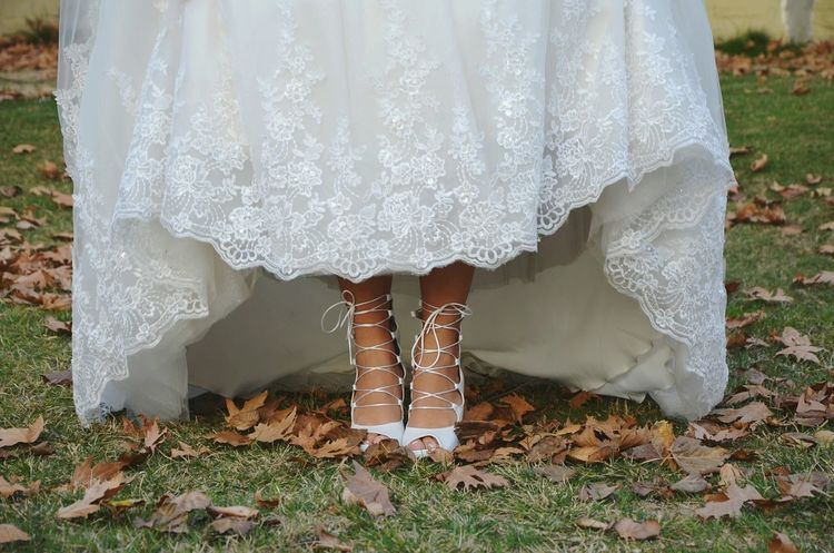 Low Section Human Body Part Standing Human Leg One Person Women One Woman Only Bride People Wedding Dress Wedding Close-up Leg Wedding Photography Wedding Day Autumn Wedding Shoe Shoes Shoelaces Laces Weddingshoes Wedding Shoes Feet Leaves Be. Ready.