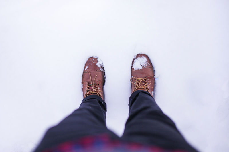 Winter boots on icy ground. Low Section Human Leg Shoe Personal Perspective Human Body Part One Person Body Part Standing Men Casual Clothing High Angle View Lifestyles Jeans Winter Real People Human Foot Day Snow Limb Human Limb Leather Ice Cold Temperature Turkey