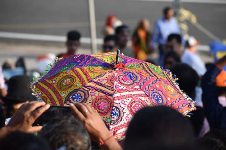 Colors Colourful Umbrella India colour of life Crowd Culture And Tradition People Spectator