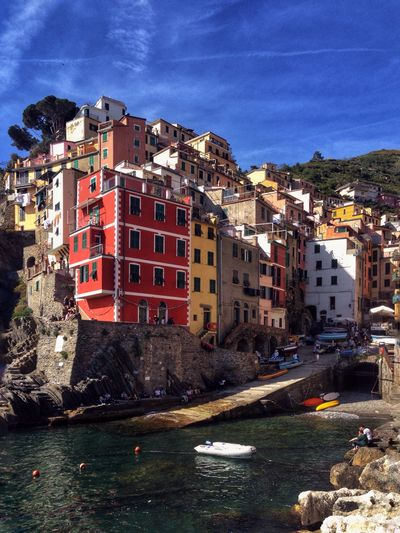 Riomaggiore, Cinque Terre, Italy Architecture Built Structure Building Exterior Sky River Outdoors Water Waterfront No People Day City Nautical Vessel Nature Riomaggiore Cinque Terre Italy
