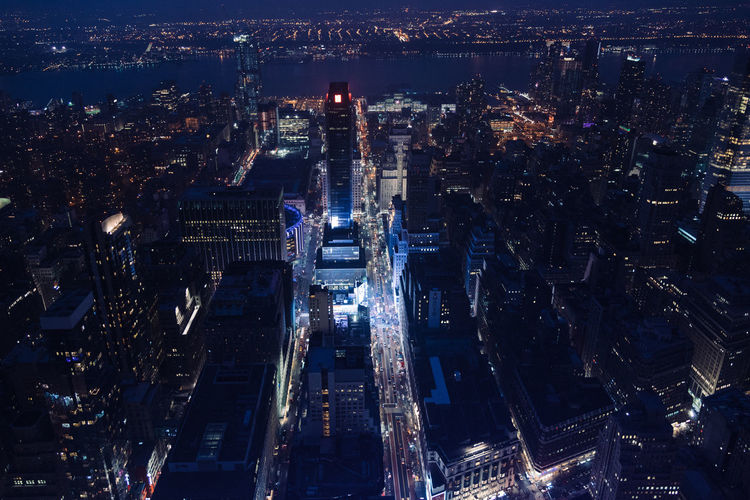 Aerial shot of illuminated cityscape