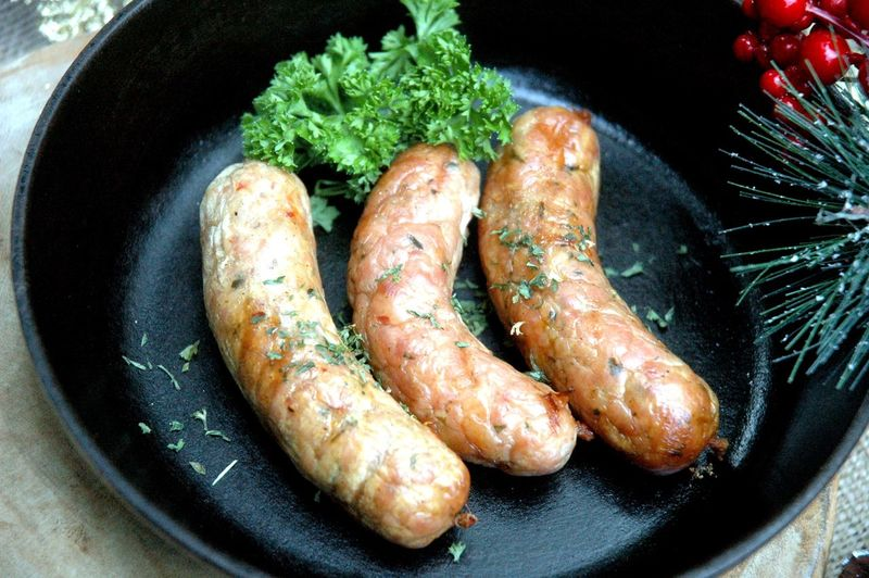 Close-Up Of Sausages In Pan