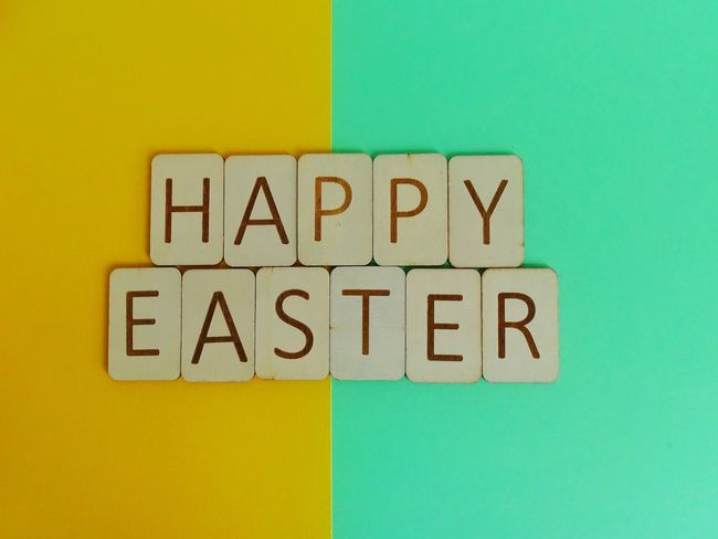Happy Easter words Pastel Colors Pastel Green Easter Typography Letters Art Wooden Letters Letters Happy Easter Words Text Yellow Multi Colored Communication No People Wood - Material Close-up Indoors  Day