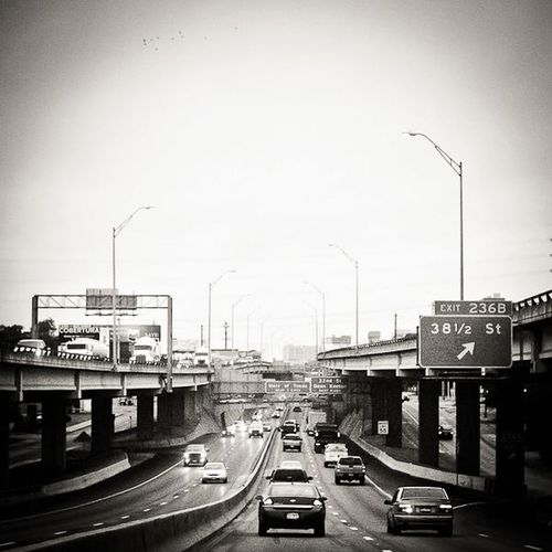 * Web use only (low resolution). Austin Black And White Cars City Downtown Driving Freeway Highway I-35 Interstate Monotone Overcast Square Textures And Surfaces Travel Trulygreatmadness Vehicle Vignette Weather