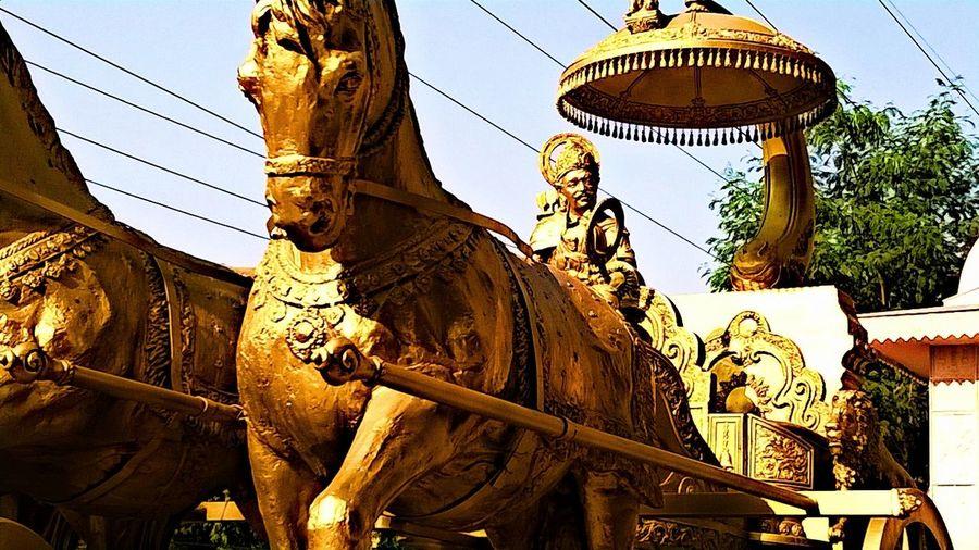 How Do We Build The World? Isckontemple Noida Uttar_pradesh LordKrishna as sarthi of Arjuna in Mahabharatha Giving Lessons of Geeta the Holy Book of Hindus Things I Like