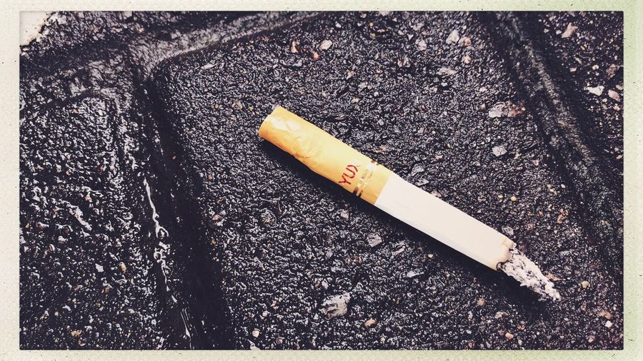 Shanghai Citylife Streetphotography Sign Warning Sign Transfer Print Cigarette  Social Issues Auto Post Production Filter Communication No People Smoking Issues Indoors  RISK Cigarette Butt Bad Habit High Angle View Still Life Close-up Burnt Tobacco Product