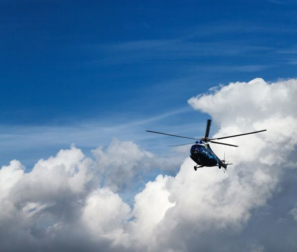 Mi-8 in the sky Cloud - Sky Air Vehicle Mode Of Transportation Transportation Flying Mid-air Low Angle View Helicopter No People Motion Blue Sky