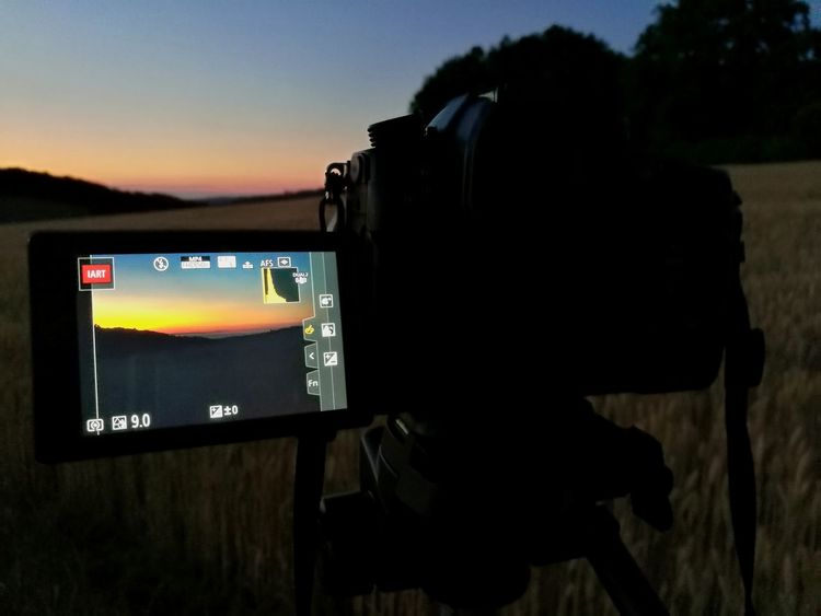 Photography Themes Camera - Photographic Equipment Technology No People Device Screen Sky Nature Gh5 Panasonic  Outdoors Night Sun Sunlight Sunset Landscape