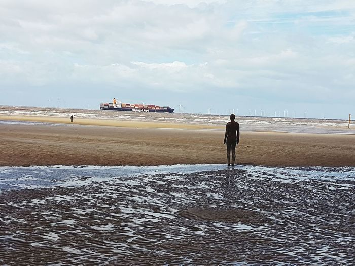 Beach Sand Sea Outdoors Seaside_collection Scenics Beauty In Nature Beachwalk Beach Photography Anthony Gormleys Another Place Anthony Gormley Another Place By Anthony Gormley Beach Walk Beach Life Ship Nature