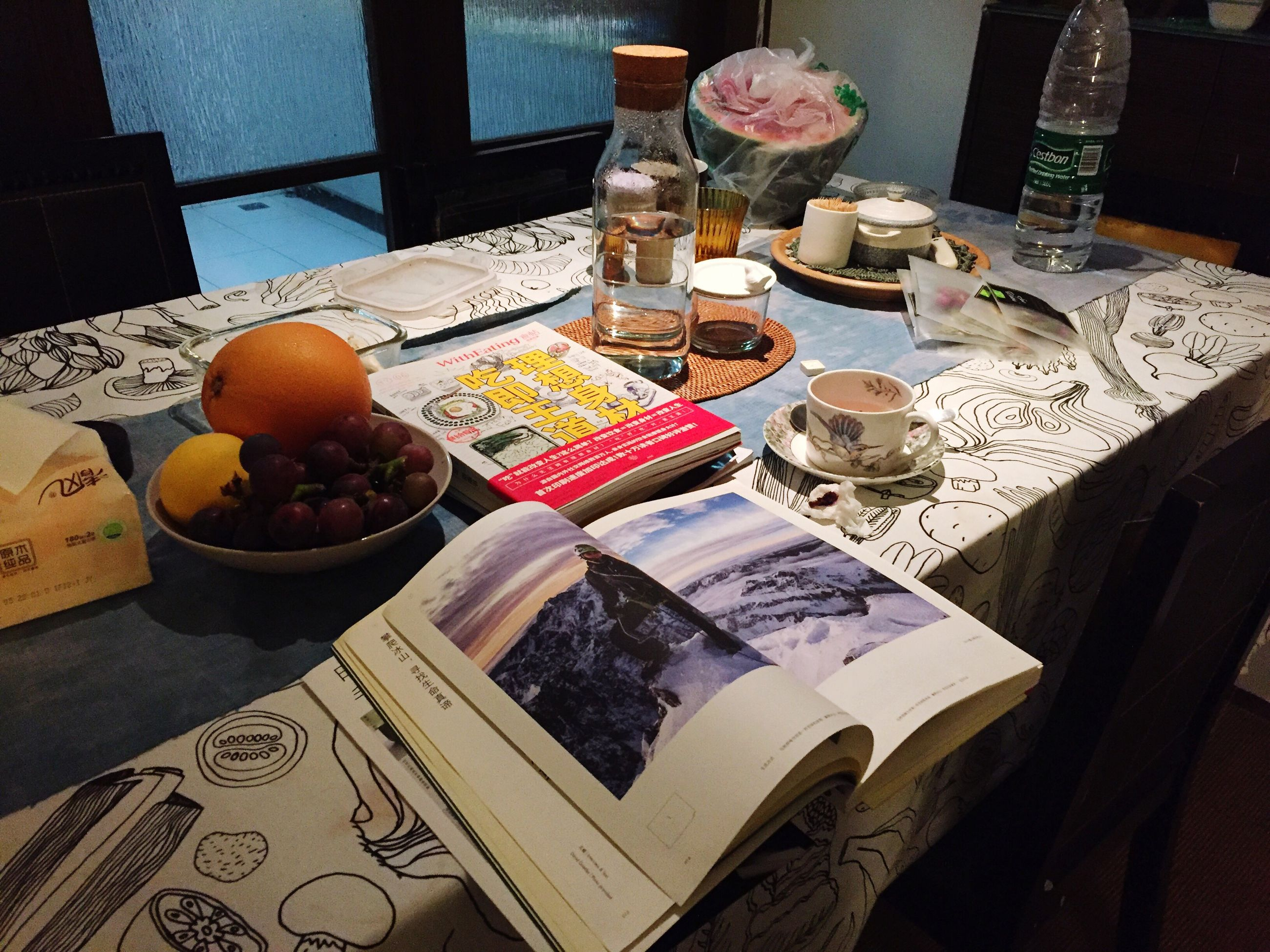 indoors, table, still life, variation, food and drink, freshness, high angle view, text, book, paper, food, choice, home interior, no people, sweet food, communication, large group of objects, western script, close-up, arrangement