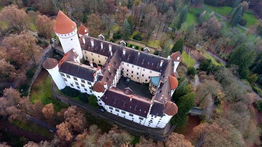 Architecture Autumn Bohemian Castle Czech Republic Konopiště  Nature Red Architecture Built Structure Day Forest Medieval Nature Old Outdoors Park Sunset Tower Tree