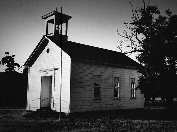 Blackandwhite Oldschoolhouse Lake County, Ca Abandoned Schoolhouse