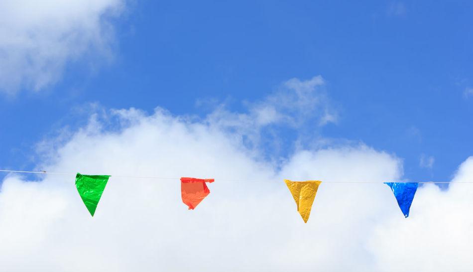 Art ArtWork Blue Cloud Cloud - Sky Cloud And Sky Clouds Clouds And Sky Cloudscape Cloudy Cloudy Day Cloudy Sky Day Decor Decoration Decorations Hanging Low Angle View No People Outdoors Ribbon Ribbon And Bows Ribbons Sky Sky And Clouds