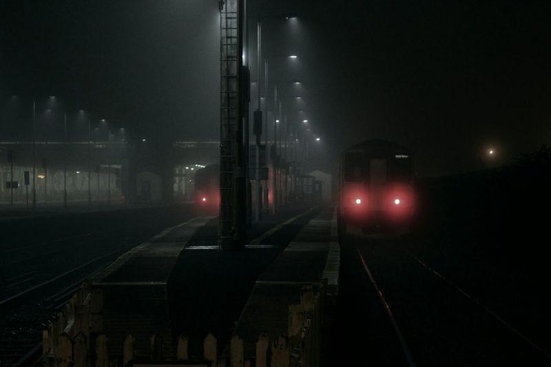 Train Station Exeter Dark Fog Eerie Night Glow Professional Hazmus