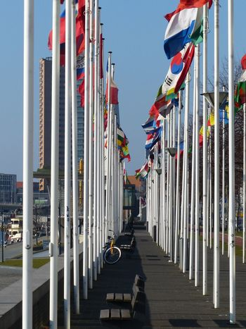 Rotterdam Maasboulevard Flags Country Flags Row Rows Of Things Bicycle Bike Colors Colorful Flag Pole Flags In The Wind  The Netherlands The Street Photographer - 2016 EyeEm Awards