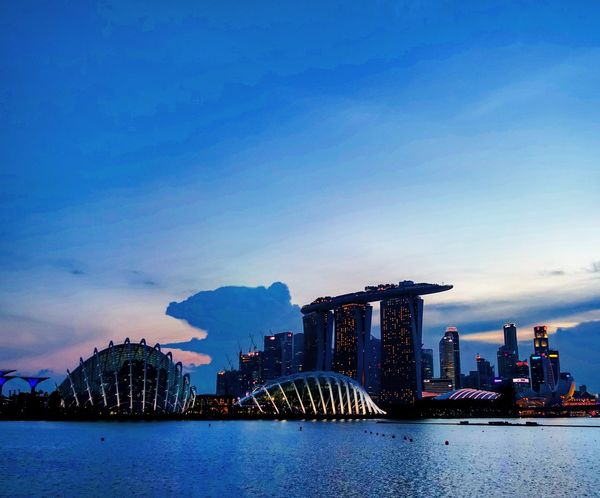 Sunset Architecture Waterfront Built Structure Skyscraper Skyline Singapore Travel Destinations Tourism Night Photography Downtown District Landmark Building Nightlights Nightphotography Night View Senset View Water Dusk City City Scenics