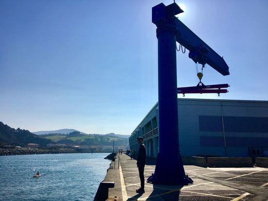 Blue Sky Architecture Clear Sky Built Structure Dock Crane Canoe Orio Gipuzkoa