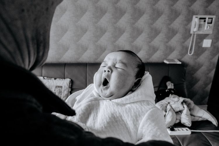 Nephew Blackandwhite Baby Indoors  Innocence Babyhood Two People Childhood Newborn Cute Bed Togetherness Son Headshot Human Body Part Real People Bedroom Human Hand People Close-up Babies Only Day