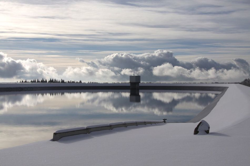 Water Reflections Winter Water Reservoir Blackforest Sky And Clouds Stausee Pumpspeicherbecken Kormoran Electricity  Black Bird Check This Out It's Cold Outside