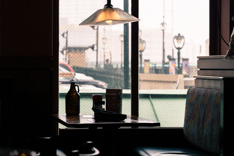 Milwaukee Day Electric Lamp Indoors  No People Restaurant Table Window
