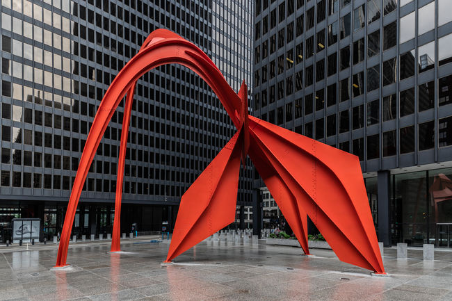 The flamingo after the storm. Dating from 1974 the 53-foot (16 m) high structure was created by Alexander Calder and is located in the Federal Plaza in Chicago, Illinois, United States. Chicago Chicago Architecture USA Architecture Building Building Exterior Built Structure Chicago Illinois City Day Financial District  Footpath Low Angle View Modern Nature No People Office Office Building Exterior Outdoors Red Reflection Skyscraper Tall - High Tower United States Of America