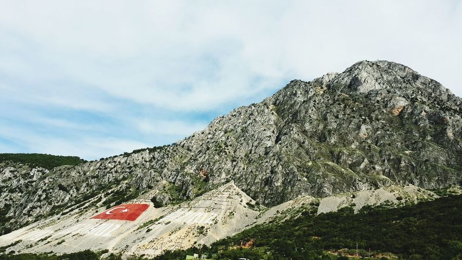 Turkish Flag Painted On Cliff