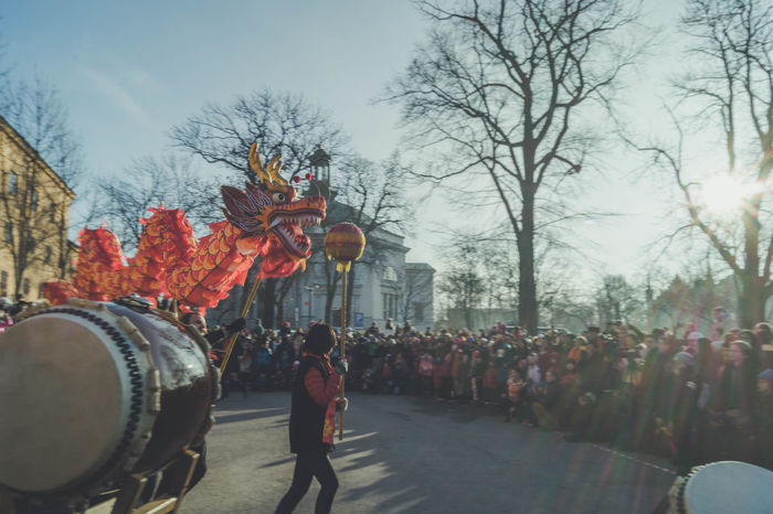 New Years celebrations outside The Museum of Far Eastern Antiquities. Celebration Celebration Celebration Event Ceremony Chinese Dragon Chinese Dragon Dance Chinese New Year Chinese New Year 2017 Dragon Large Group Of People Outdoors Parade People Performance Performing Arts Event Real People Sky Sunlight Sunlight And Shadow Sweden The Museum Of Far Eastern Antiquities Tree Year Of The Rooster