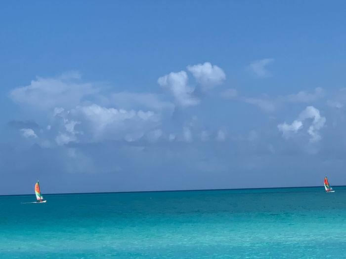 Water Sky Sea Cloud - Sky Beauty In Nature Scenics - Nature Land Holiday Blue Travel Trip Vacations Travel Destinations Nautical Vessel Tranquility Nature Beach Idyllic Tranquil Scene Horizon Over Water