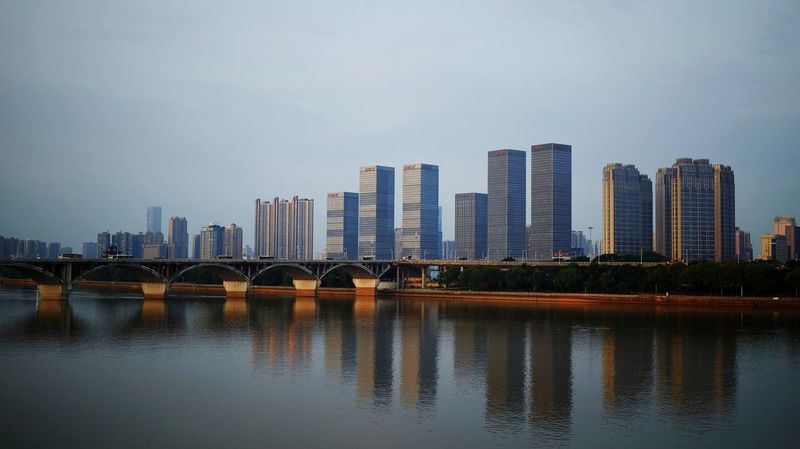 Skyscraper Cityscape Urban Skyline City Architecture Downtown District Modern Building Exterior Outdoors No People Water Travel Landscape Changsha, Hunan FUJIFILM X-T10 Light And Shadow Water Reflection