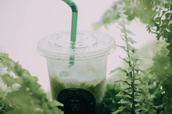 Drinking Straw Straw Close-up No People Freshness Food And Drink Jar Transparent Drink Still Life Selective Focus Green Color Food Refreshment Leaf Plant Indoors  Container Glass - Material Glass น้ำ ใบไม้