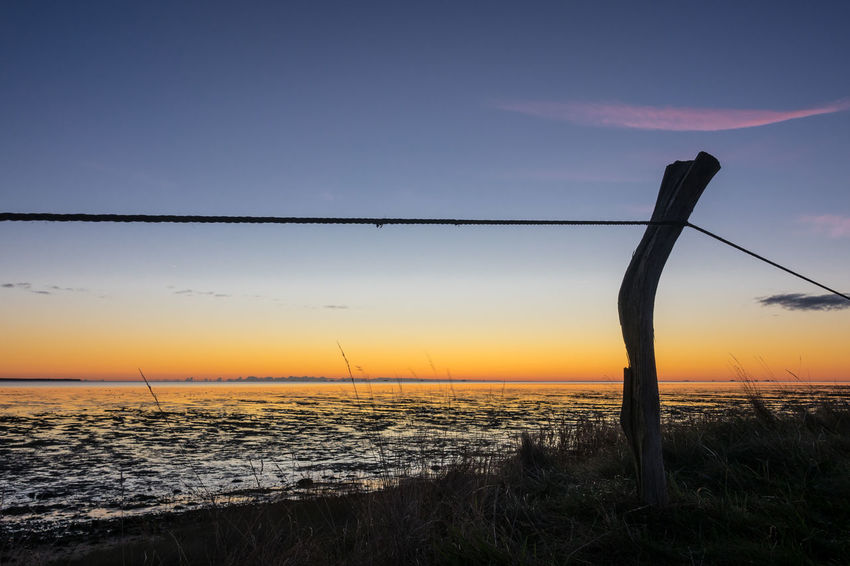 Sunrise on the North Sea island Amrum, Germany. Amrum Holiday Morning Relaxing Beach Beauty In Nature Fence Horizon Over Water Island Nature North Sea Orange Color Outdoors Scenics Sea Silhouette Sky Sunrise Sunup Tourism Tranquil Scene Travel Destinations Vacation Wadden Sea Water