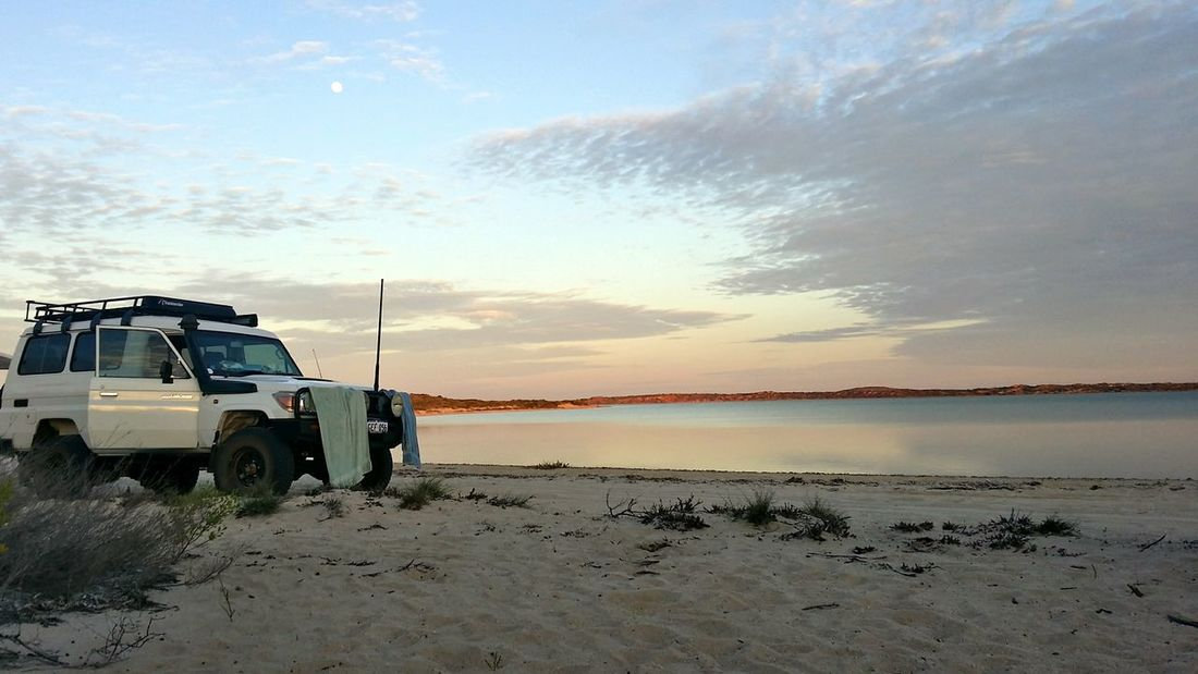 Sand Sky Transportation Water Cloud - Sky Beach Nature Car No People AdventureBeauty In Nature Western Australia Moon Shark Bay Australia Camp Life Morning Sky Reconnecting With Nature No Wifi No Phone