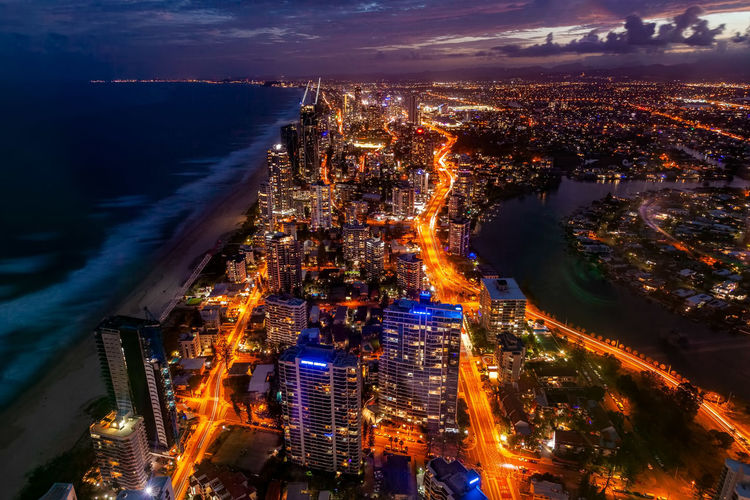 Surfers Paradise Gold Coast Gold Coast Australia Night Long Exposure Building Exterior City Architecture Cityscape Illuminated Built Structure Building High Angle View Residential District Water Sky Cloud - Sky Nature City Life Aerial View Dusk No People Office Building Exterior Skyscraper Outdoors Modern