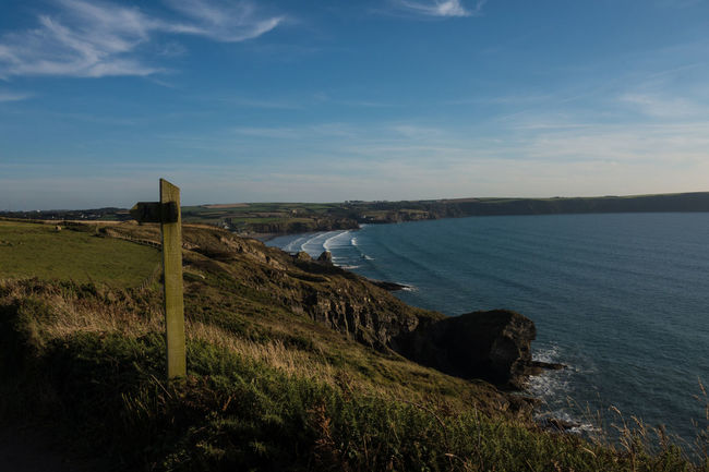 Adventure Beauty In Nature Coast Coastline Nature Sea And Sky Seascape Signpost Summer Walking