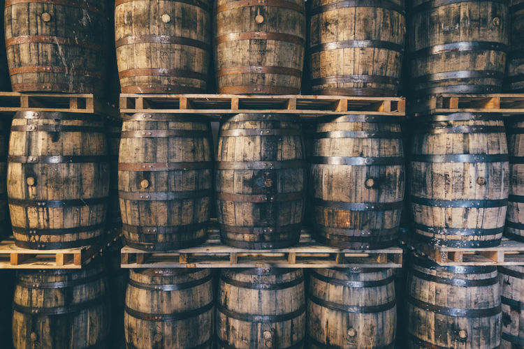Abundance Architectural Feature Arrangement Casks Day Full Frame History Large Group Of Objects Man Made Object No People Part Of Scotland Shelf Stack Whiskey Whisky