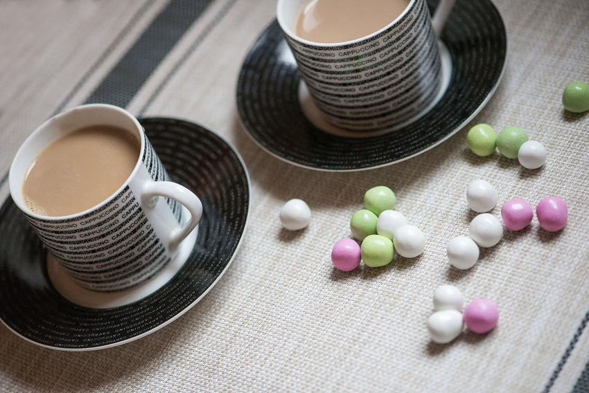 Beverage Beverages Coffee Colorful Candles Home Two Cups Weekend Winter Wintertime Candy Cappuccino Christmas Holidays Close-up Cozy Day Food And Drink Freshness Healthcare And Medicine Indoors  No People Season  Still Life Table Time Unhealthy Eating