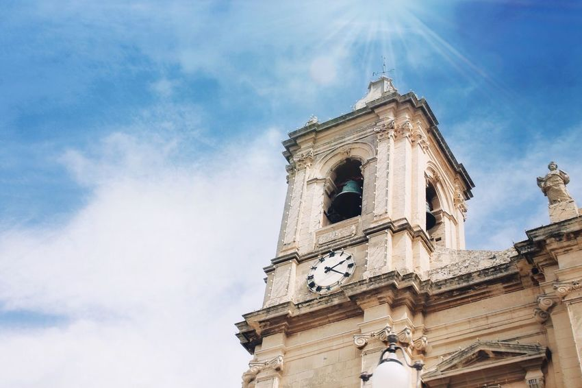Malta Malta Built Structure Low Angle View Architecture Sky Building Exterior Religion Cloud - Sky Building No People Nature Tower Day Clock Travel Destinations History Belief
