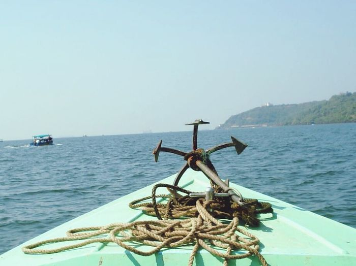 Anchor Anchorage Boat Sea Seaboat Goa India Sky And Sea Blue Sky Blue Water Blue Water Blue Sky Chord Capture The Moment No People Let's Go. Together.