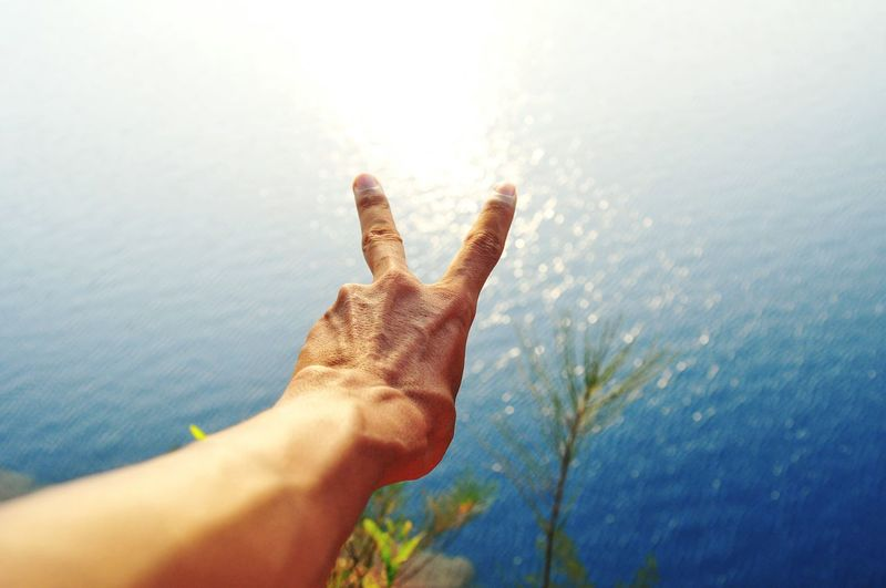 Peace of Lake EyeEm Nature Lover EyeEmNewHere EyeEm Selects Blue Color Blue Creative Photography Illustration High Angle View Landscape Lake View Lake Creativity Sunlight Human Hand Human Body Part Human Finger One Person Personal Perspective Close-up Palm Outdoors Day Nature Adults Only Adult People