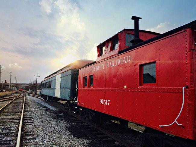 Showcase: January Everett Grey. Train Everett It's Love Sunset Evening Railroad Red Traveling Train Station Train Tracks