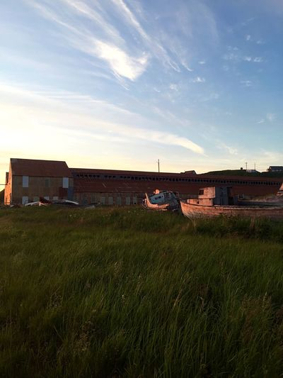 Fishing Industry Alaska Old Fishing Boat Old Buildings Boat Sun Sun Kissed  Architecture Sky Building Exterior Built Structure Building Nature Plant Cloud - Sky Land Field House Grass Rural Scene Growth No People Outdoors
