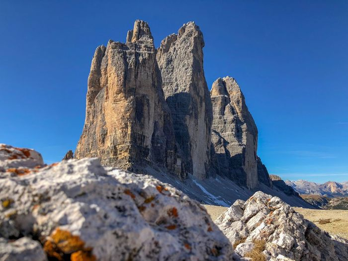 Drei Zinnen Rock Dolomiti Dolomites, Italy Italy Best Picture  Climbing Drei Zinnen Mountain Beatiful Nature Sky Nature Sunlight Rock Solid Clear Sky Blue No People Low Angle View Beauty In Nature
