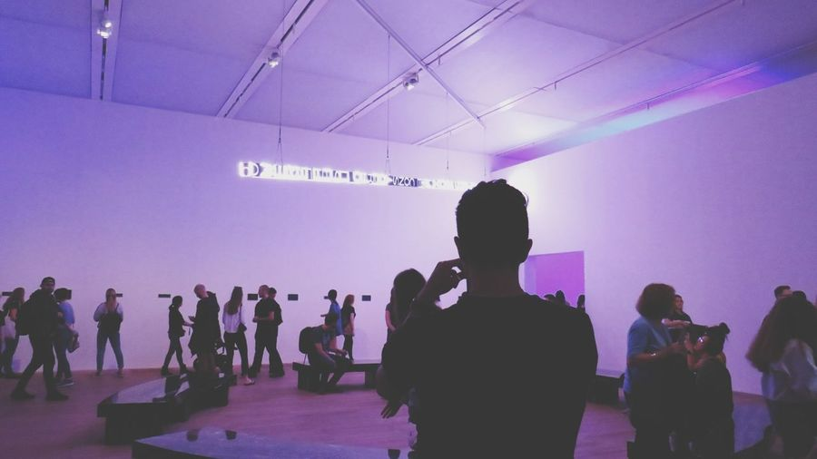 Museum Of Modern Art Light Shadow Contrast TateModern Arts Culture And Entertainment London Technology Men Pink Color Standing Silhouette Purple Disco Lights