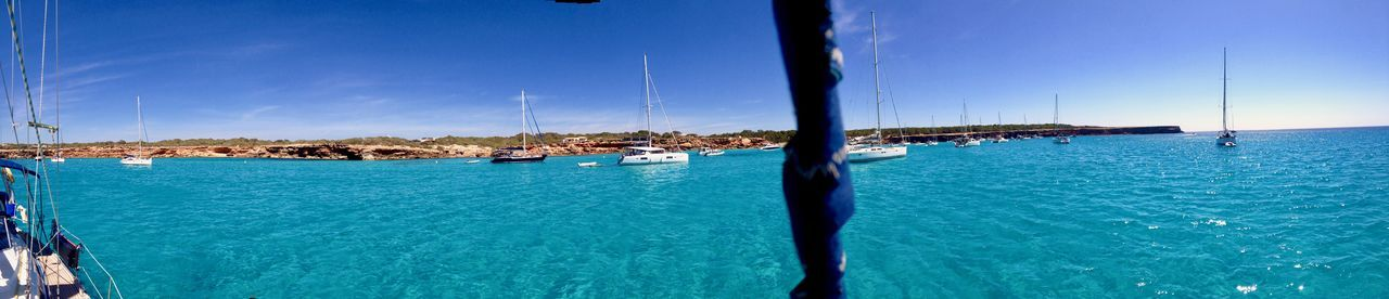 Anchorage Panorama. Cala Saona, Formentera Anchorage Cala Saona Beauty In Nature Blue Cruising Cruising Life Day Liveaboard Nature Nautical Vessel Outdoors Sailboat Scenics - Nature Sea Sky Swimming Pool Tranquil Scene Tranquility Transportation Travel Travel Destinations Turquoise Turquoise Colored Water Yacht