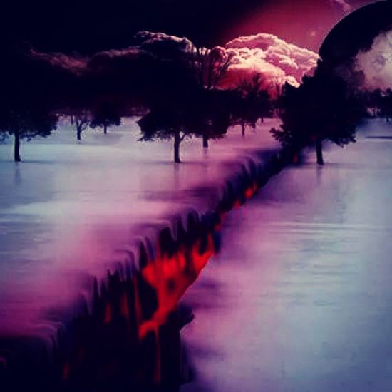 Hell HighwayToHell Ground Divided nature snow cold lava hot burning ice fire amazing contrast colorful artistic inspiring evening night tumblr PositiveVibes karma